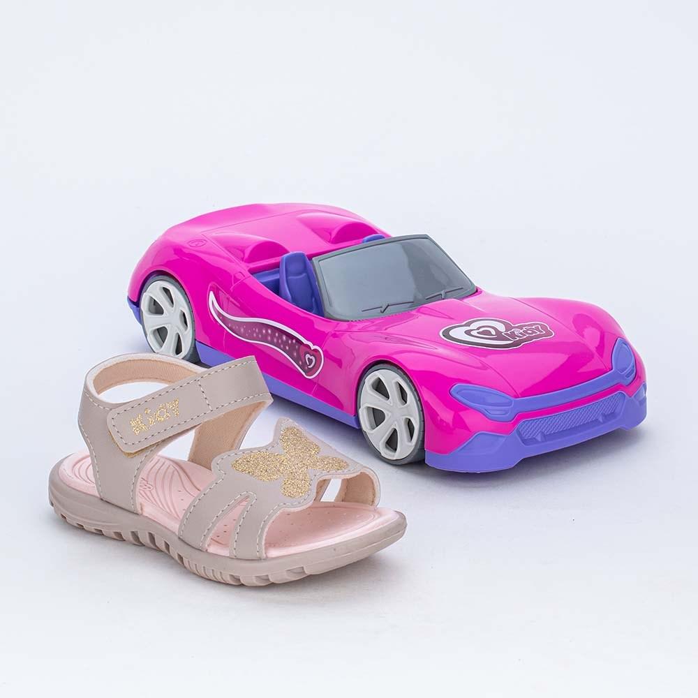 Papete Menina com Borboleta de Glitter e Carro Conversível