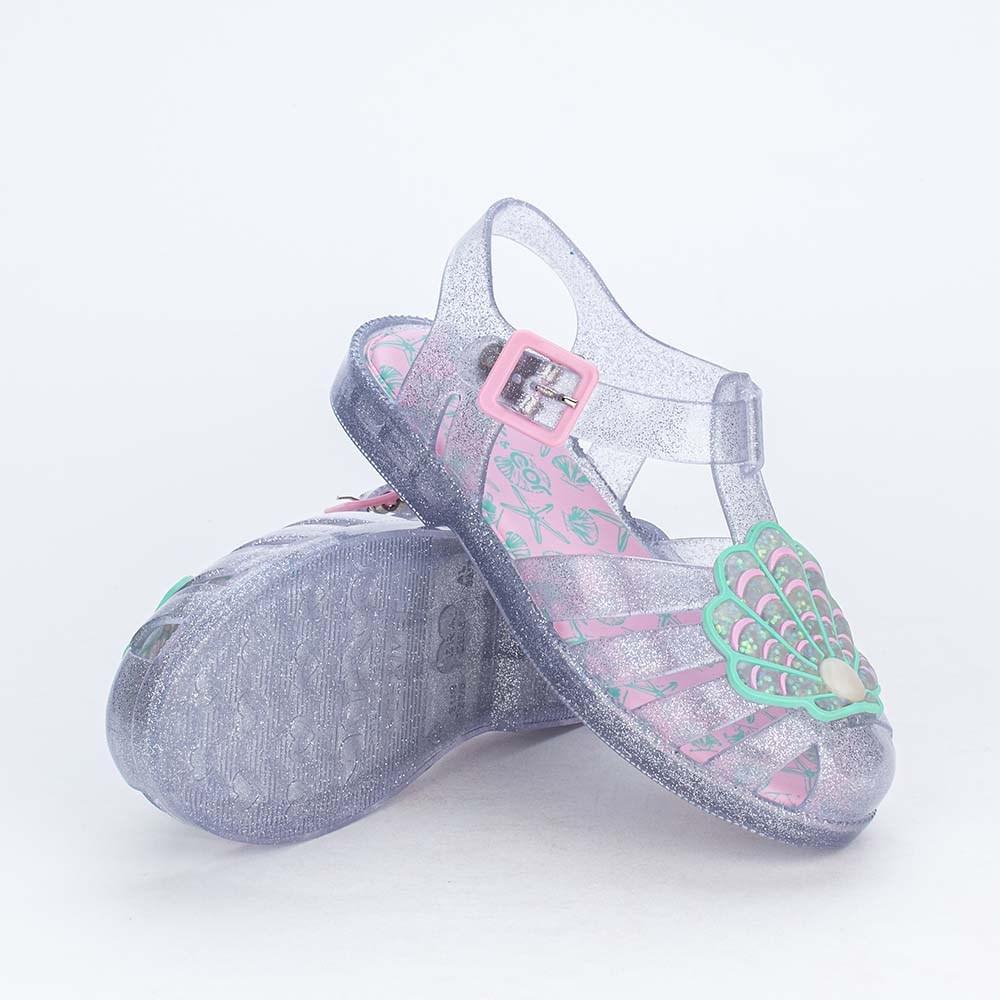 Sandália Arco Íris Menina Mar e Cor Fundo do Mar com Glitter