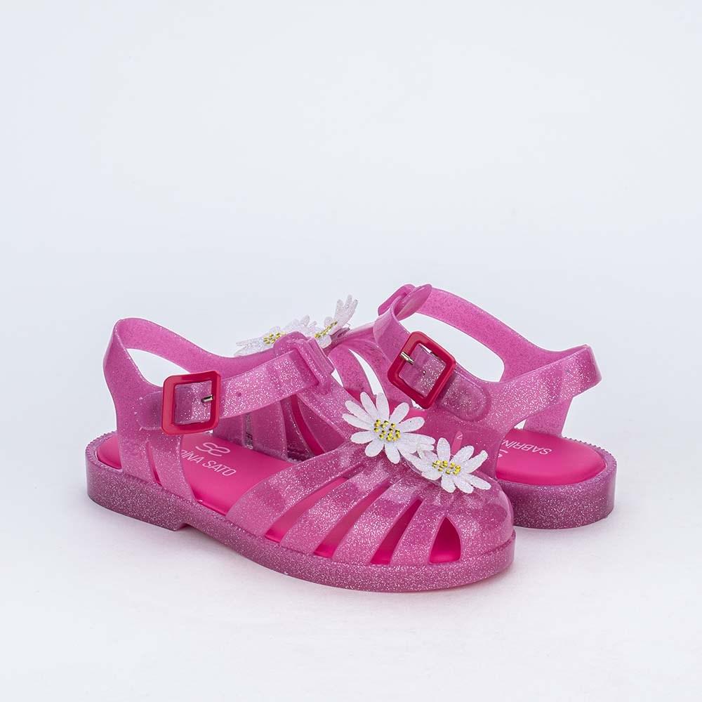 Sandália Arco Íris Menina Sabrina Sato Pink com Glitter
