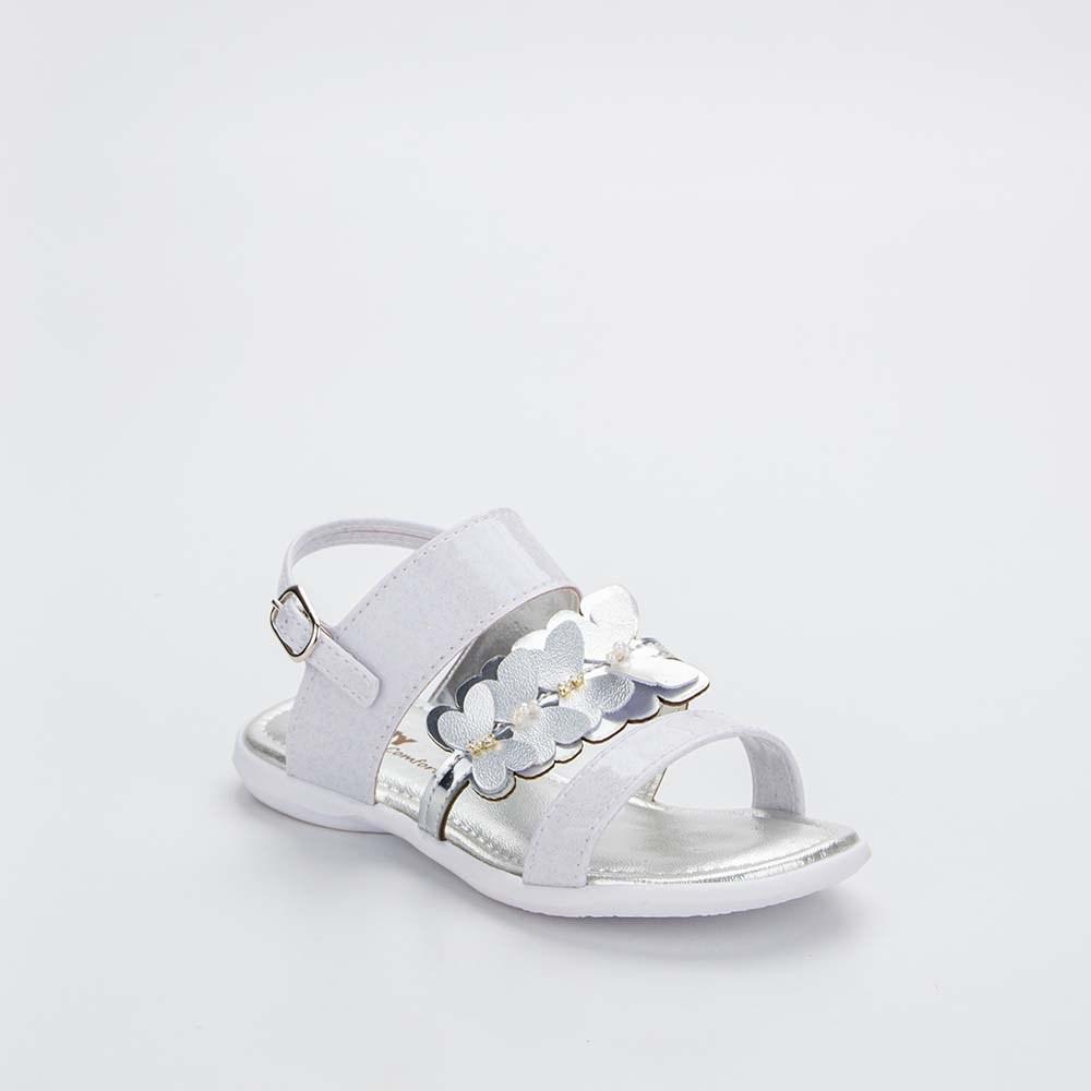 Sandália Baby Menina Equilíbrio com Borboleta Branca e Prata