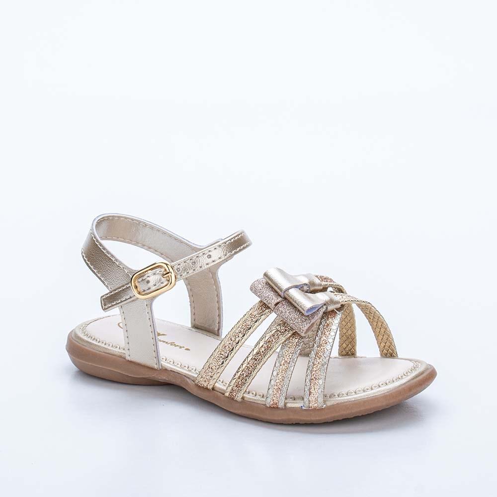 Sandália Baby Menina Equilíbrio com Glitter e Laço Dourada