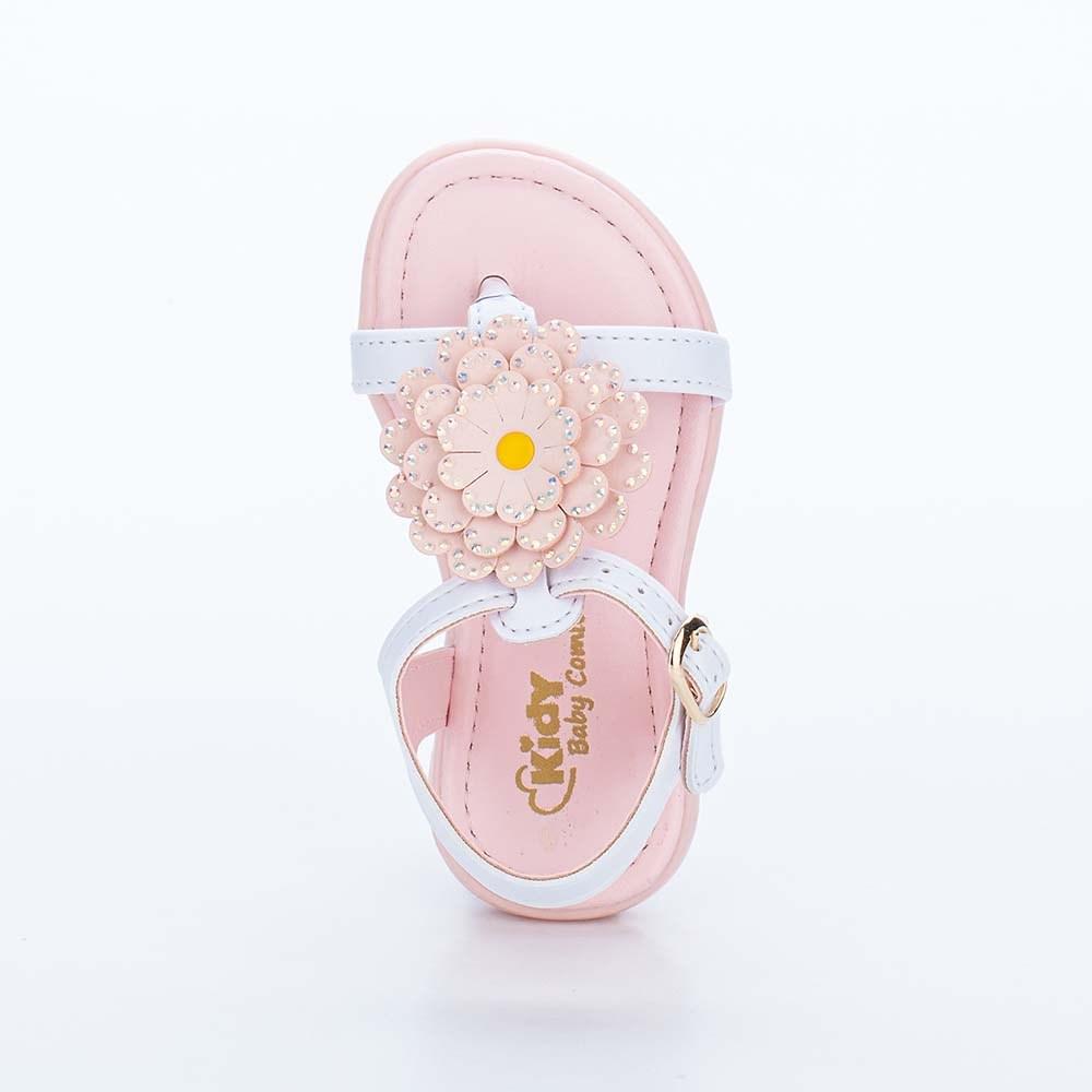 Sandália Baby Menina Equilíbrio de Flor com Brilho Branca