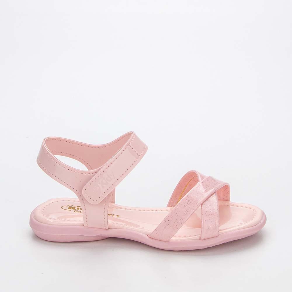 Sandália Baby Menina Equilíbrio em Tiras com Glitter Rosa Nude