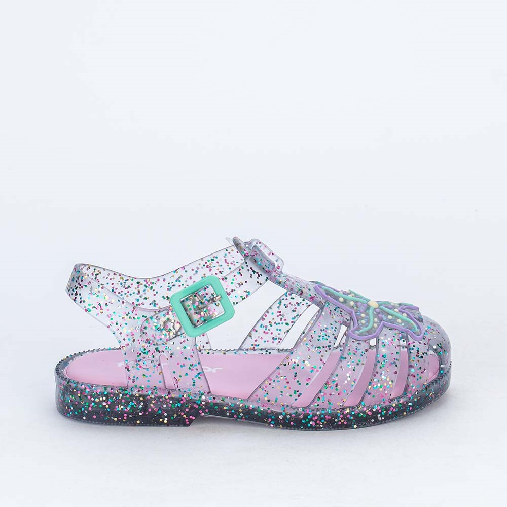 Sandália Baby Menina Mar e Cor Sereia com Glitter Colorido