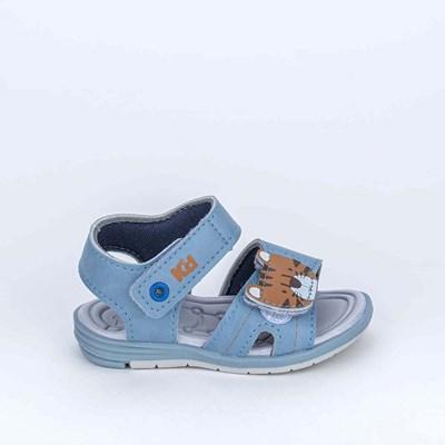 Sandália Baby Menino Equilíbrio com Tigrinho Azul Stone