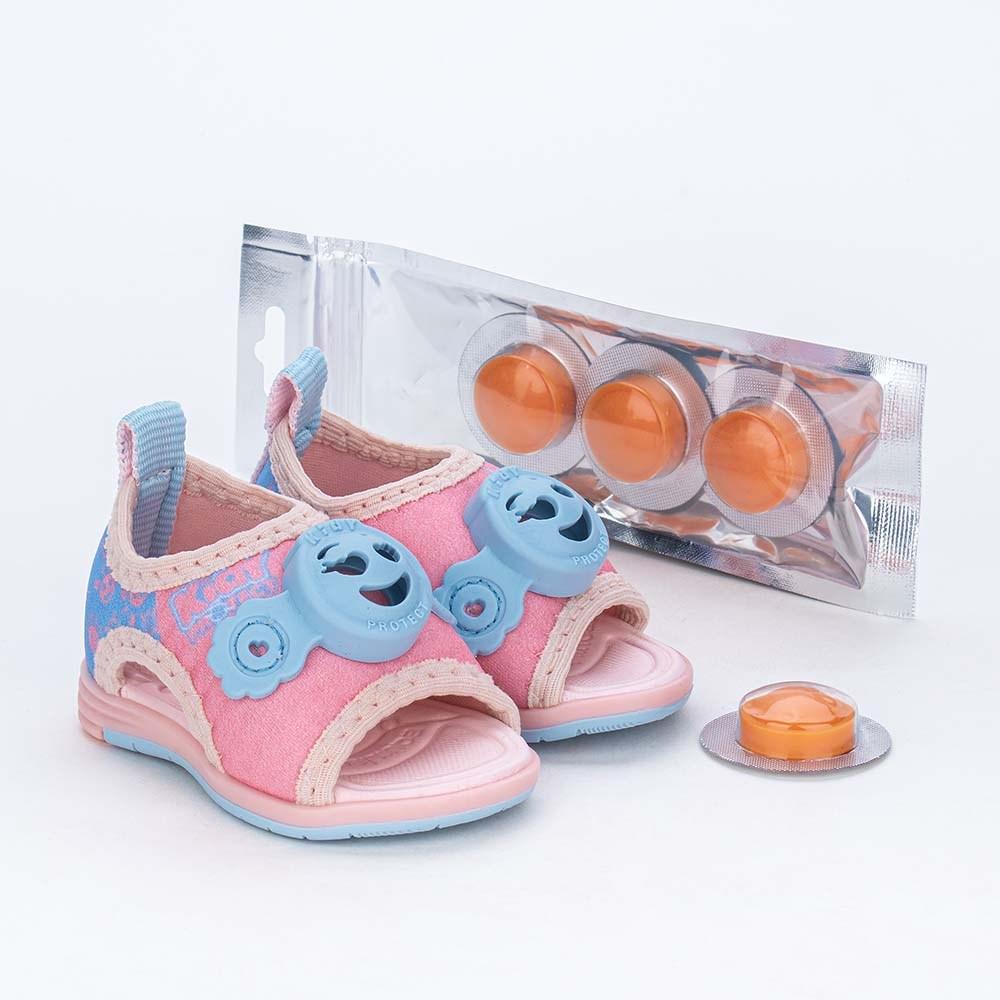 Sandália Bebê Kidy Protect com Repelente Rosa Nude e Azul