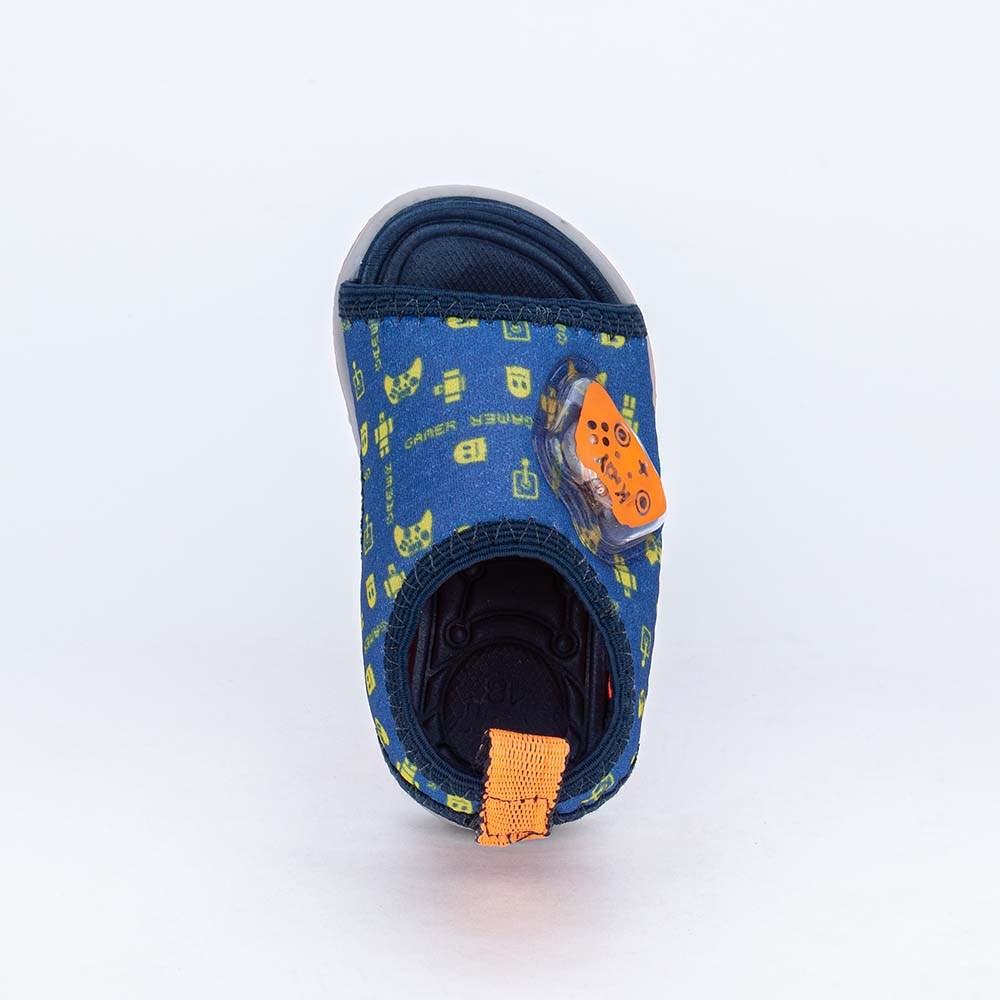 Sandália com Luz para Bebês Kidy Light Azul Royal e Laranja