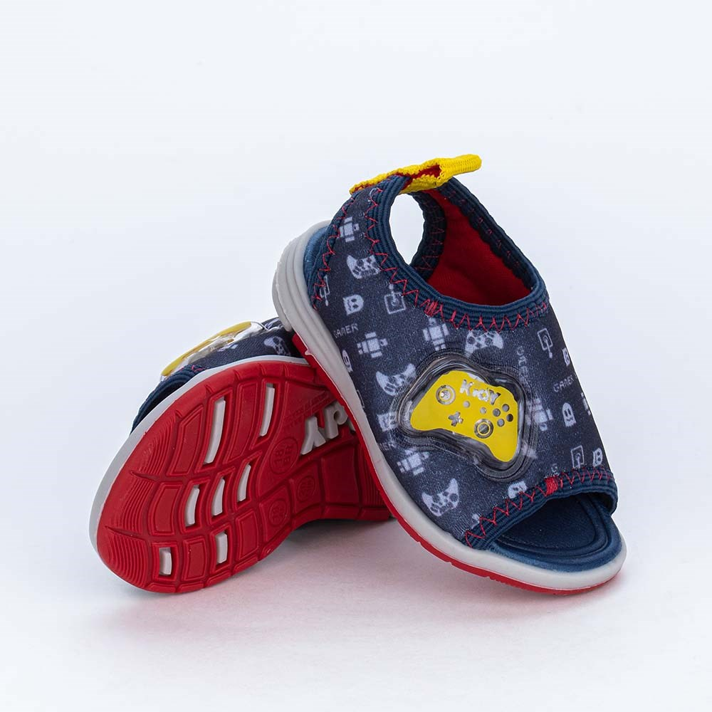 Sandália com Luz para Bebês Kidy Light Marinho e Amarela