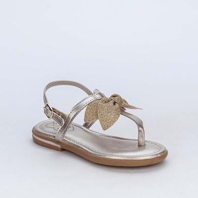 Sandália de Dedo Amar é Confort com Laço de Glitter Dourada