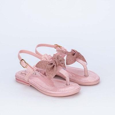 Sandália de Dedo Infantil Confort com Laço de Glitter Rosa