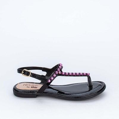 Sandália de Dedo Infantil Kidy Preta com Pérolas Metalizadas