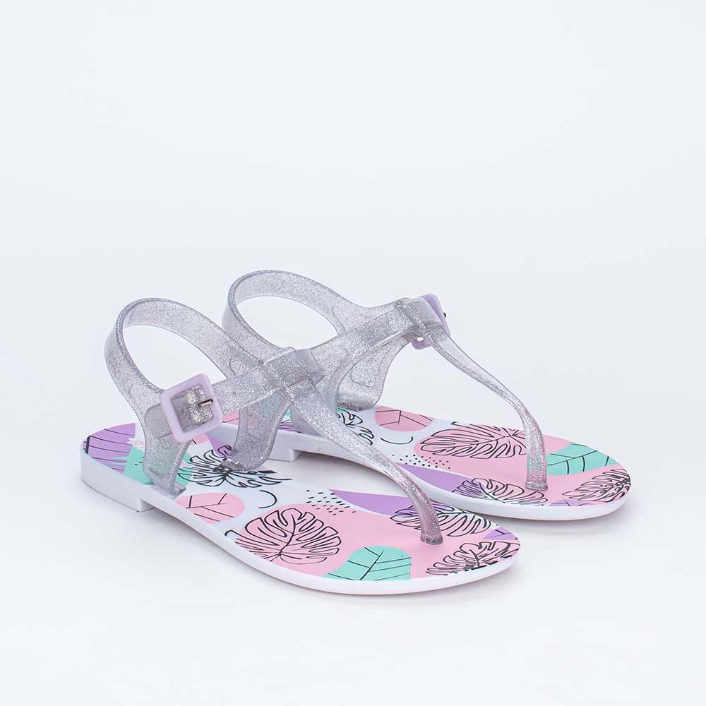 Sandália de Dedo Infantil Mar e Cor com Glitter Transparente