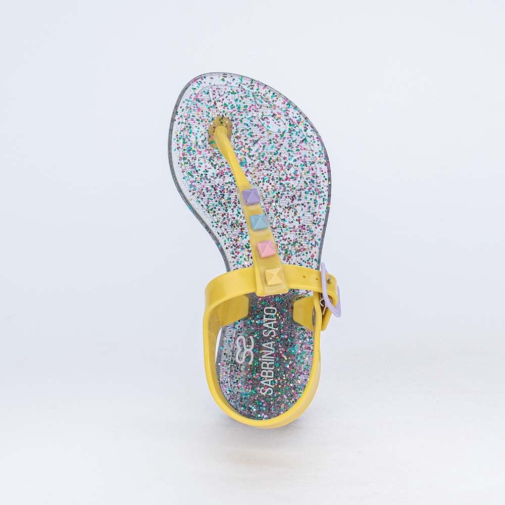 Sandália de Dedo Menina Sabrina Sato Amarelo com Glitter