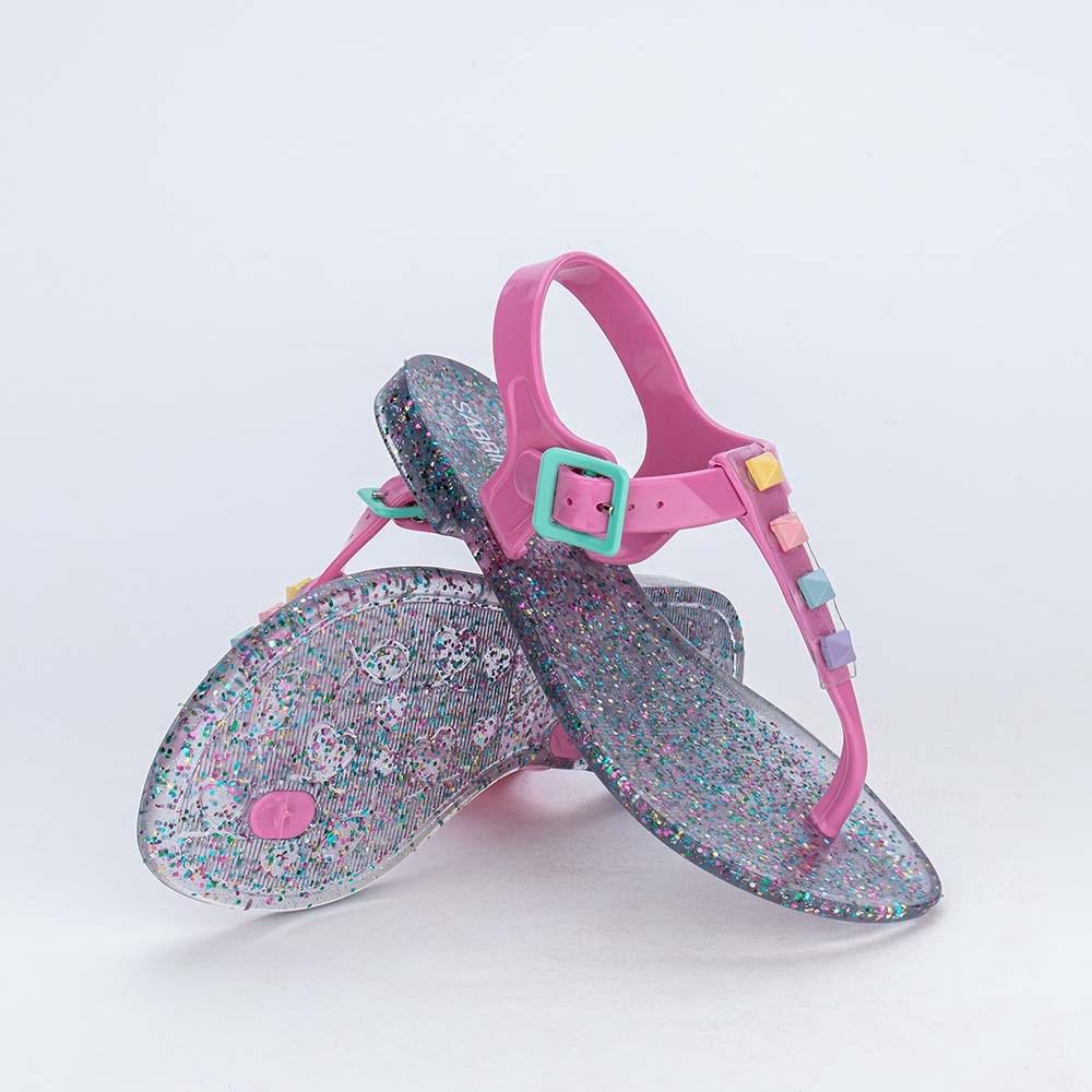 Sandália de Dedo Menina Sabrina Sato Rosa com Glitter