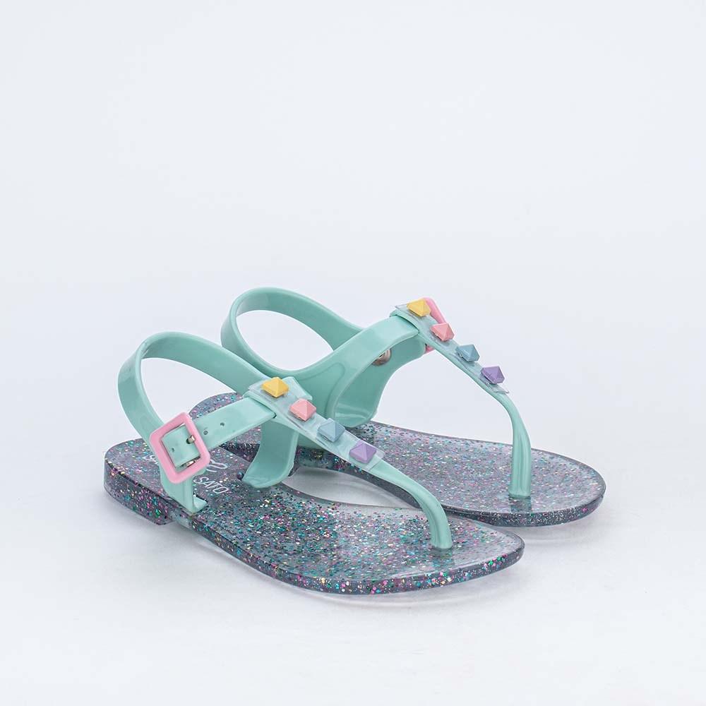 Sandália de Dedo Menina Sabrina Sato Verde com Glitter