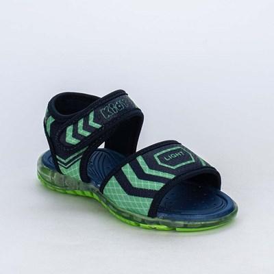 Sandália de Led Infantil para Menino Marinho e Verde Neon