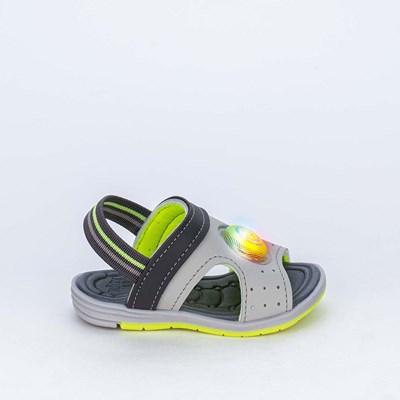 Sandália de Led para Bebês com elástico Cinza e Amarelo Neon