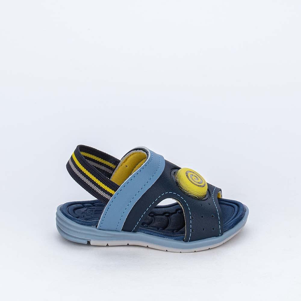 Sandália de Led para Bebês com elástico Marinho e Amarelo