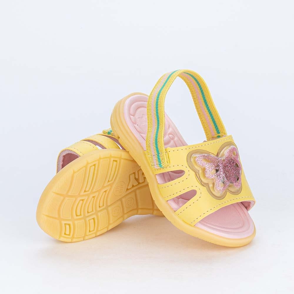 Sandália de Led para Bebês Kidy com Borboleta de Luz Amarela