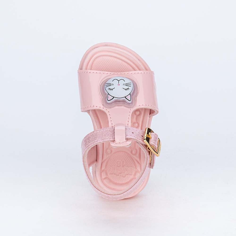 Sandália de Led para Bebês Kidy com Gatinha de Luz Rosa Nude