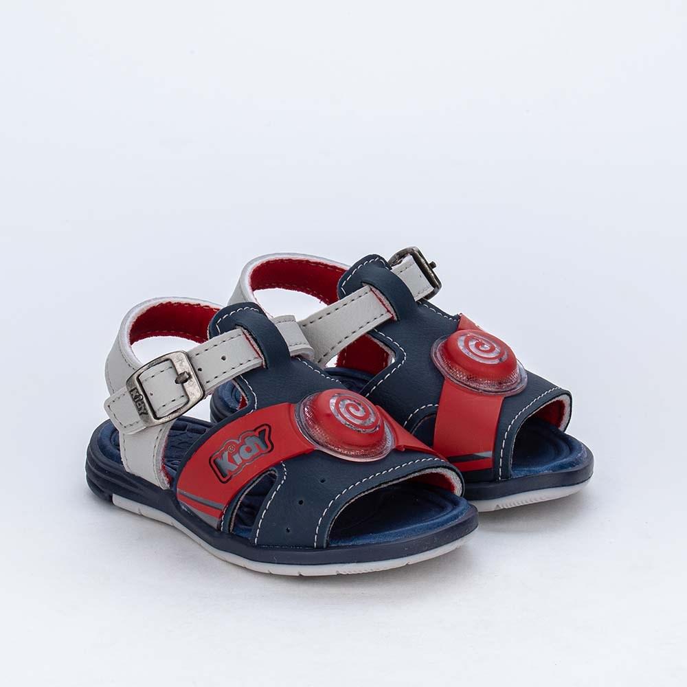 Sandália de Led para Bebês Kidy Light Marinho e Vermelha