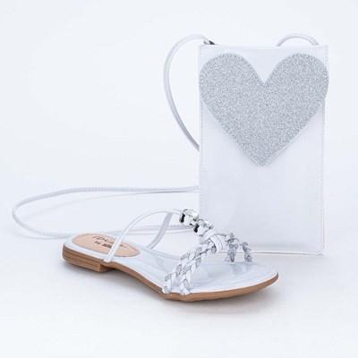 Sandália Flat Infantil Ibiza com Glitter e Bolsinha Branca