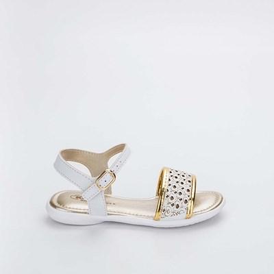 Sandália Infantil Baby Menina Equilíbrio Branca e Dourado