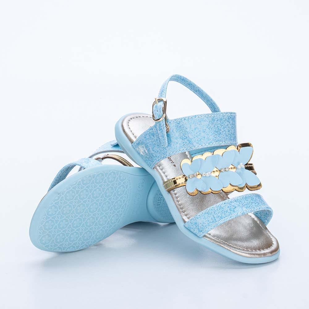 Sandália Infantil Baby Menina Equilíbrio com Borboleta Anis e Dourada