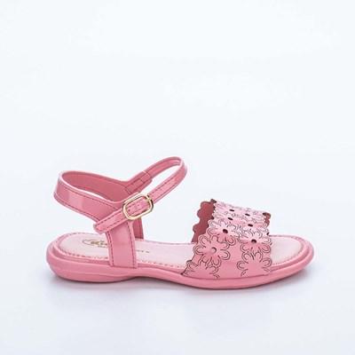 Sandália Infantil Baby Menina Equilíbrio com Flores Vazadas Rosê