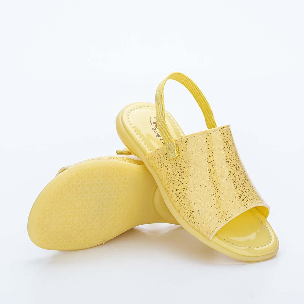 Sandália Infantil Baby Menina Equilíbrio com Glitter Amarela