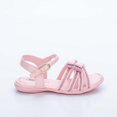 Sandália Infantil Baby Menina Equilíbrio com Glitter e Meio Laço Rosa Nude