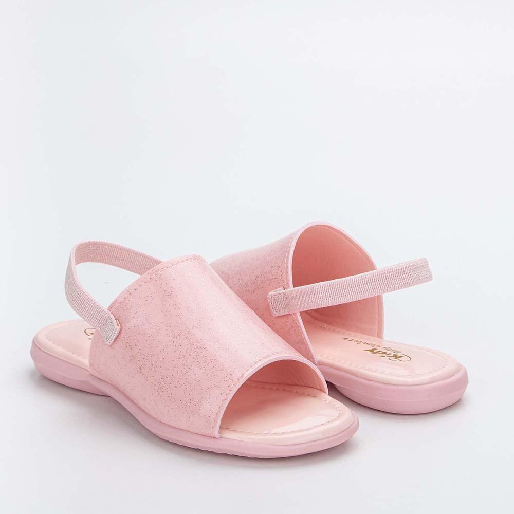 Sandália Infantil Baby Menina Equilíbrio com Glitter Rosa Nude