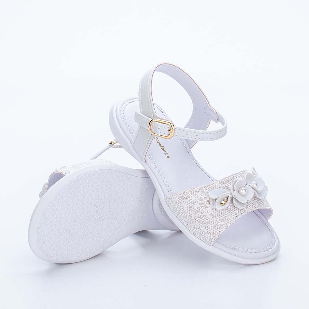 Sandália Infantil Baby Menina Equilíbrio com Renda e Flores Branca