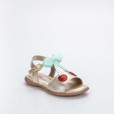 Sandália Infantil Baby Menina Equilíbrio Dourada Cerejinha e Faixa