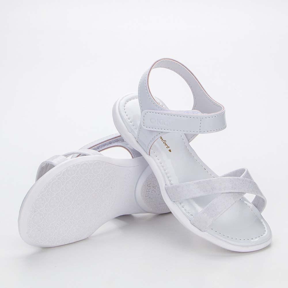 Sandália Infantil Baby Menina Equilíbrio em Tiras com Glitter Branca