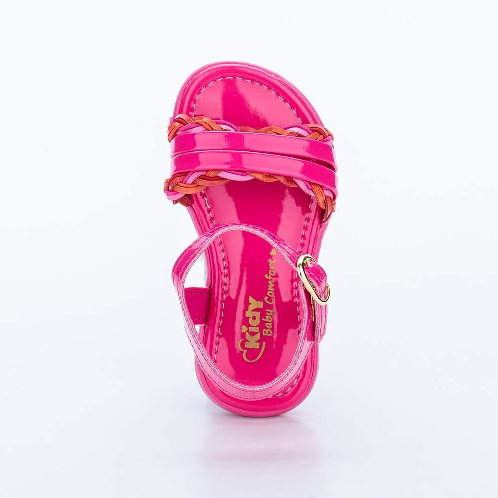 Sandália Infantil Baby Menina Equilíbrio Pink com Tranças