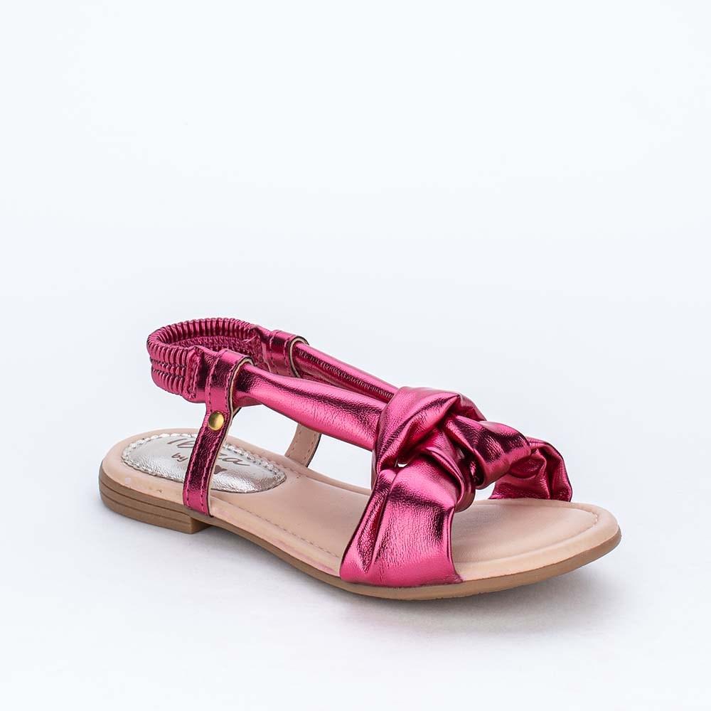 Sandália Infantil Feminina Comfy Flat Ibiza Pink Metalizado