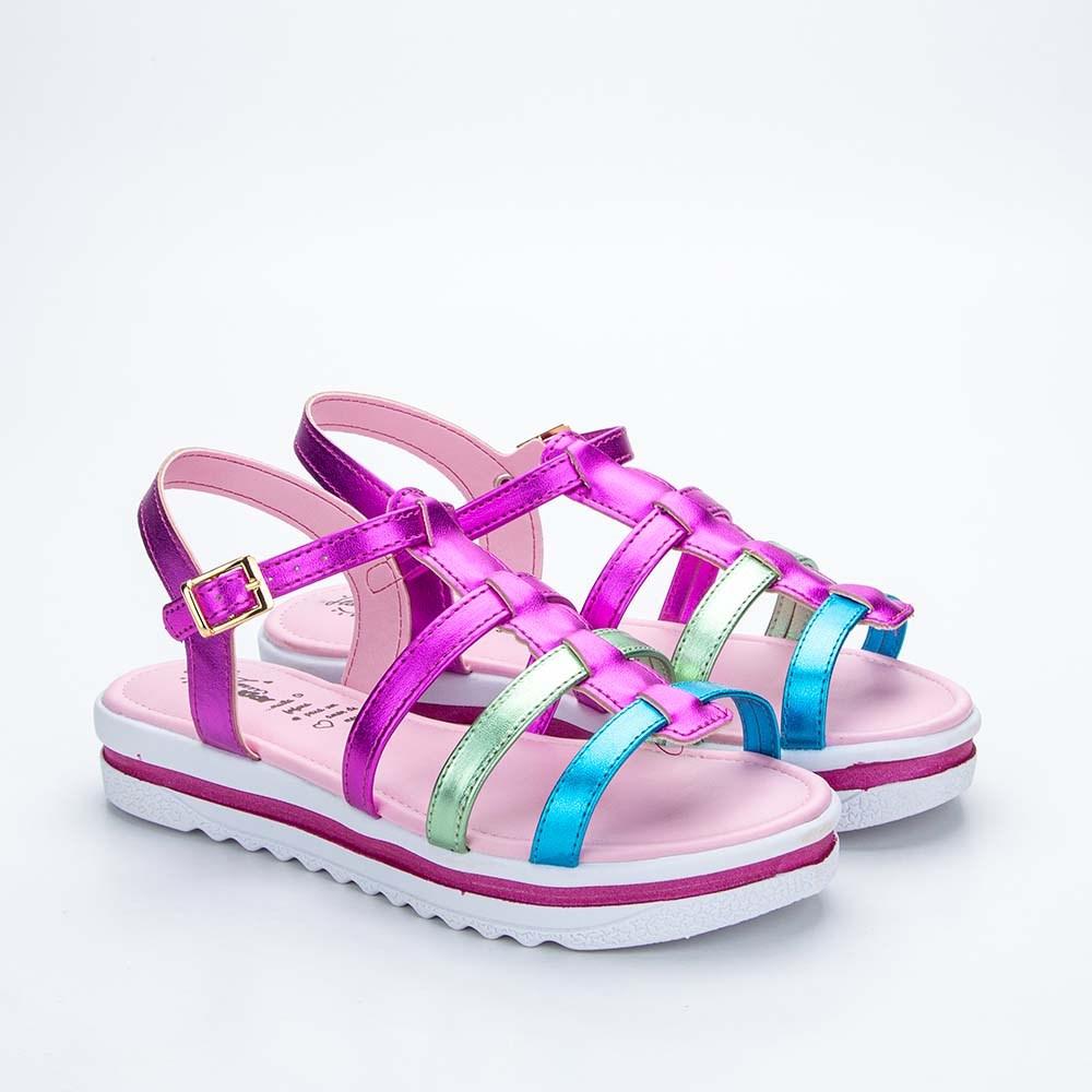 Sandália Infantil Feminina Kidy Anabela Pink e Colorido