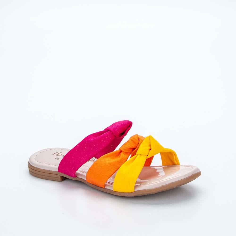 Sandália Infantil Feminina Kidy Flat Ibiza Pink e Colorido