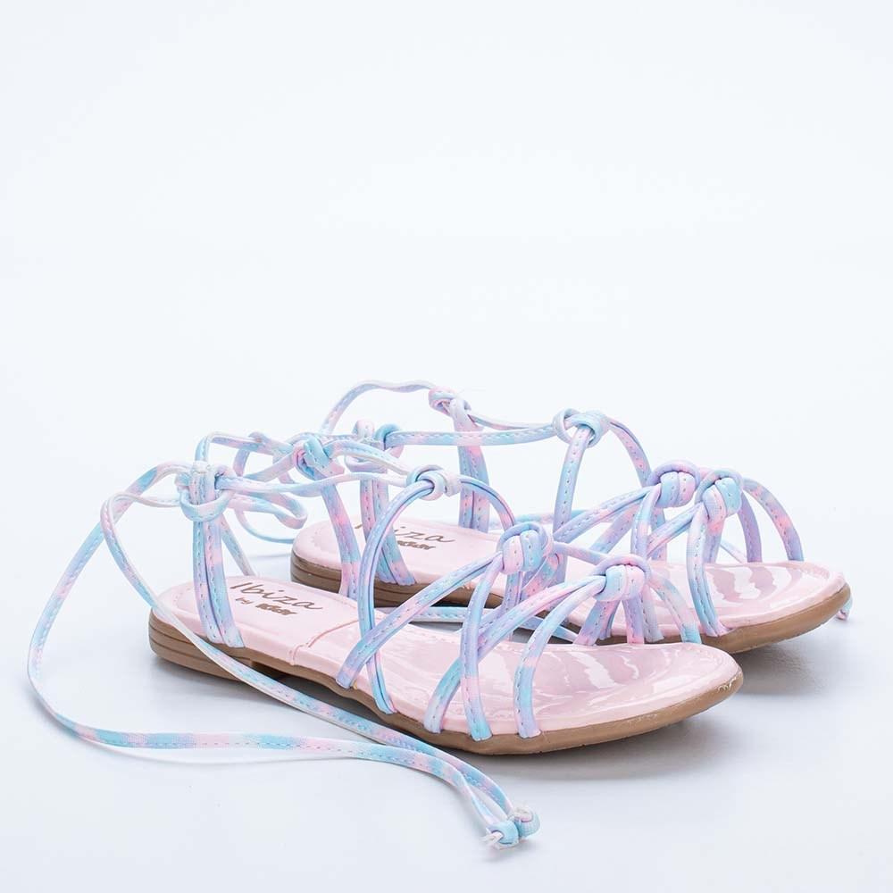 Sandália Infantil Feminina Kidy Flat Ibiza Tie Dye Nude