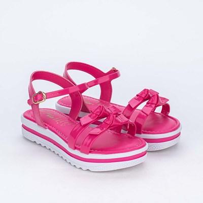 Sandália Infantil Feminina Kidy Flatform Pink com Laços