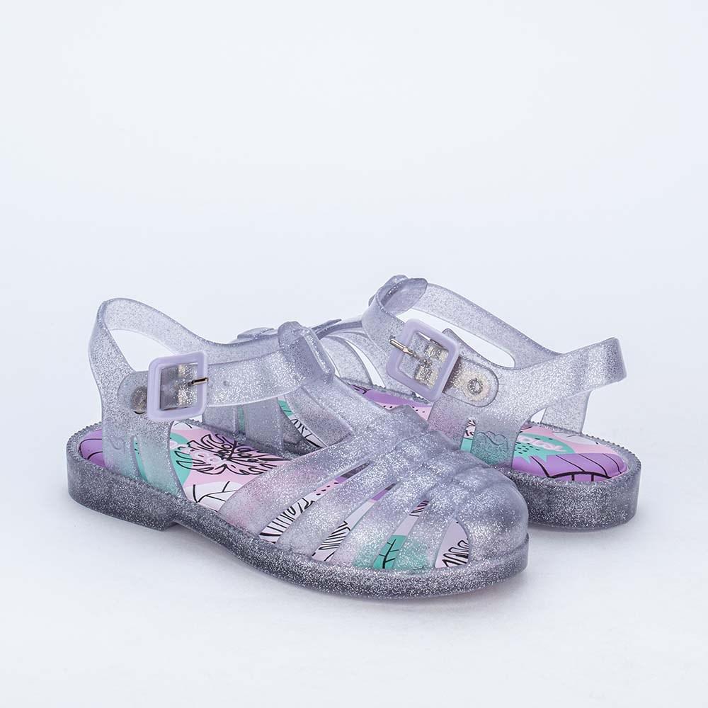 Sandália Infantil Feminina Mar e Cor de Glitter Transparente
