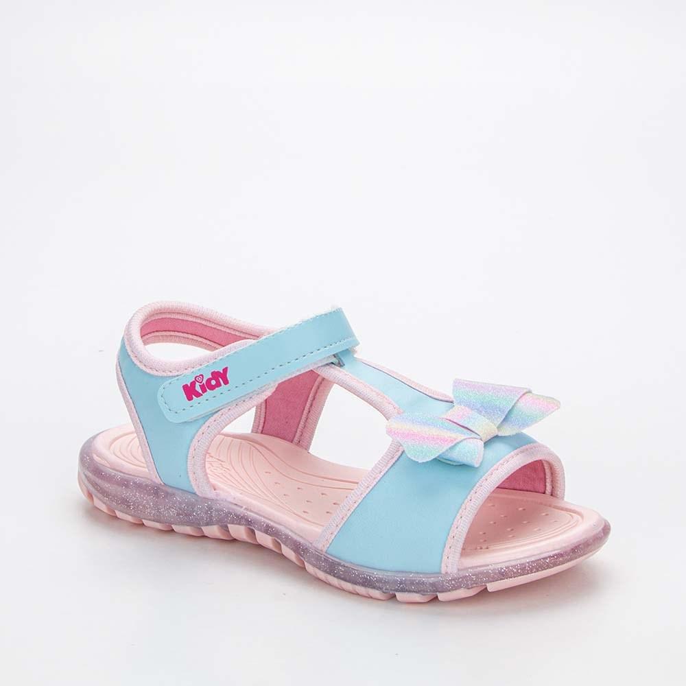 Sandália Infantil Feminina Papete Kidy Gloss Azul e Rosa