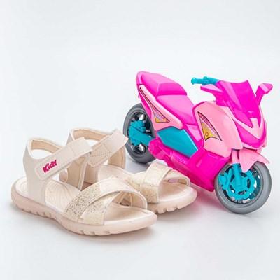 Sandália Infantil Feminina Papete Kidy Gloss Marfim com Moto
