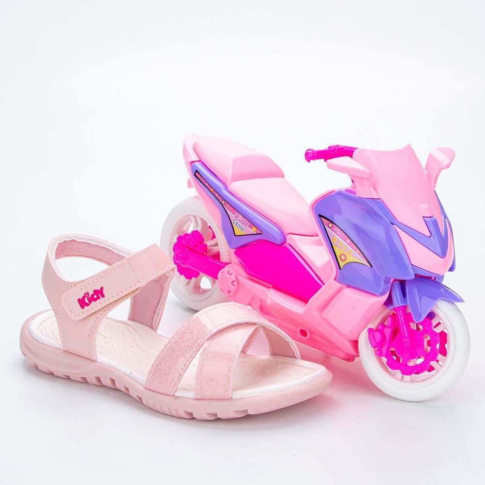 Sandália Infantil Feminina Papete Kidy Gloss Nude com Moto