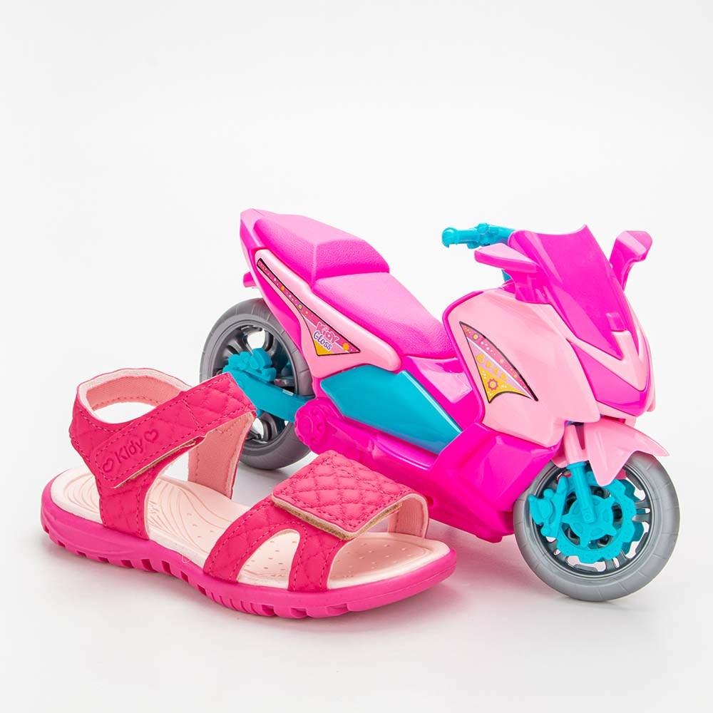 Sandália Infantil Feminina Papete Kidy Gloss Pink com Brinquedo