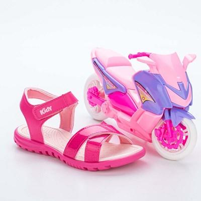 Sandália Infantil Feminina Papete Kidy Gloss Pink com Moto