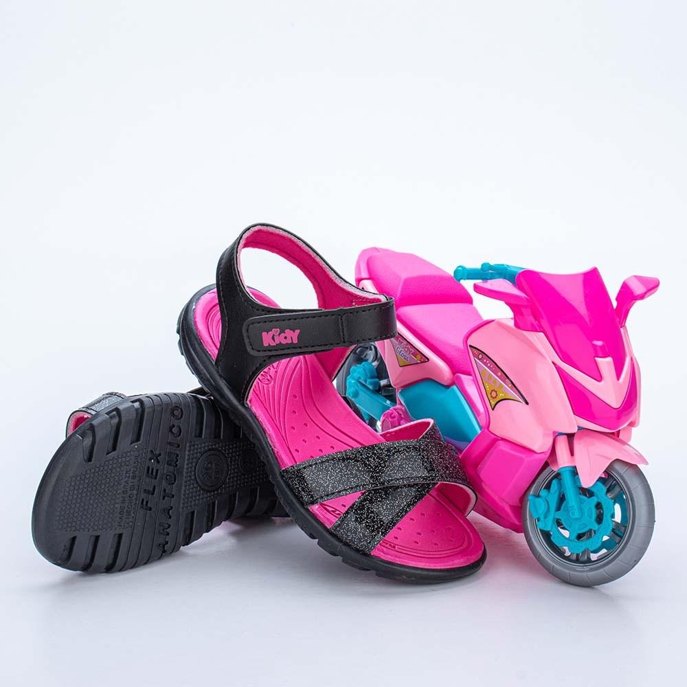 Sandália Infantil Feminina Papete Kidy Gloss Preto com Moto