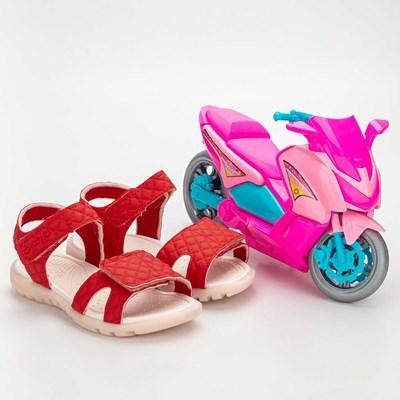 Sandália Infantil Feminina Papete Kidy Gloss Vermelho com Brinquedo