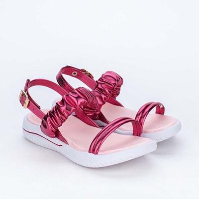 Sandália Infantil Feminina Ultra Leve Comfy Metalizada Pink